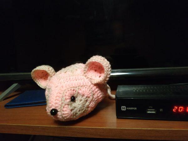 Мягкая Вязаная игрушка Мышь фас
