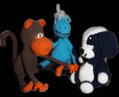 Вязаные игрушки Лошадка, Обезьяна и Собака