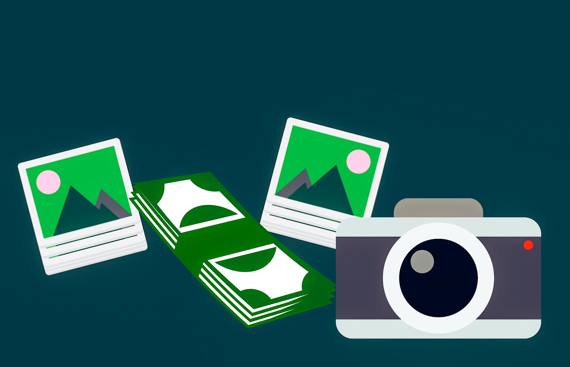 Заработать на продаже фотографий и изображений. Фотоаппарат, фотографии, деньги